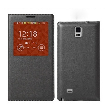 Microsonic View Slim Kapaklı Deri Galaxy Note 4 Kılıf Akıllı Modlu Siyah Renkli